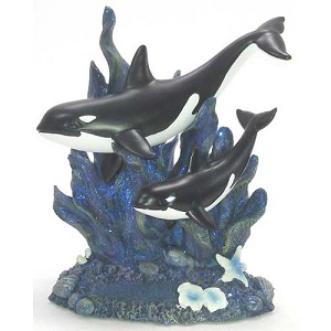 SeaWorld Resin Figure - Double Orca - Glitter