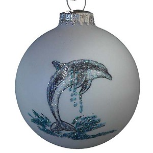 SeaWorld Christmas Ornament - Blown Glass - Hand Painted - Dolphin