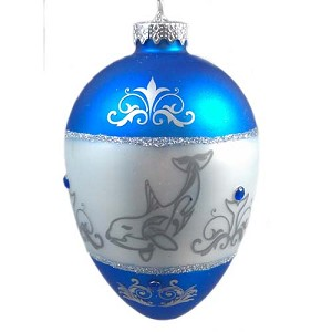SeaWorld Christmas Ornament - Blown Glass - Egg - Silver Sea Animal