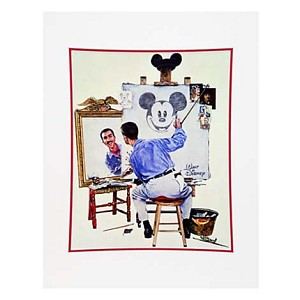 Disney Artist Print - Charles Boyer - Walt and Mickey Mouse - Self Portrait