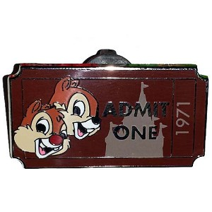 Disney Mystery Pin - Admit One Ticket Pass - Chip & Dale