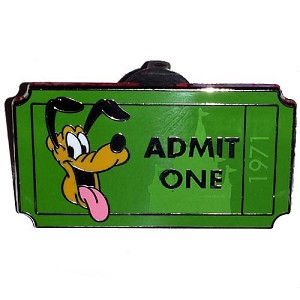 Disney Mystery Pin - Admit One Ticket Pass - Pluto