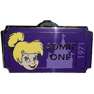 Disney Mystery Pin - Admit One Ticket Pass - Tinker Bell