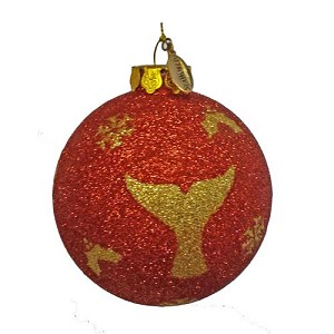 SeaWorld Christmas Ornament - Blown Glass - Ball - Whale Tail Glitter