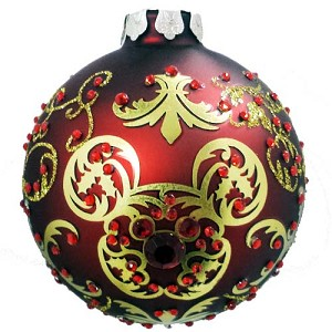 Disney Christmas Ornament - Red Gold Victorian Mickey Icon Ball - Red Gems
