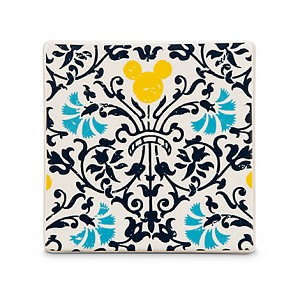 Disney Ceramic Tile - Mickey Mouse Icon -  Floral - Indigo