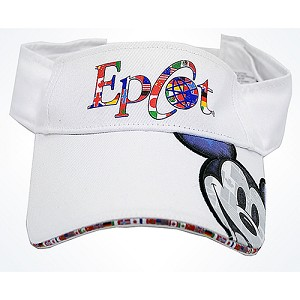 fb6c44bb1fe Disney Sun Visor Hat - EPCOT - World Pavilion Logo with Mickey Face