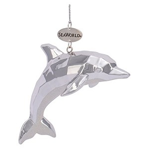SeaWorld Christmas Ornament - Silver and Glitter Dolphin