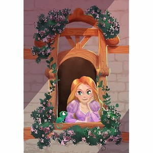 Disney Postcard - Rapunzel ''Happy Here'' by Victoria Ying