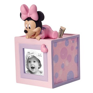 Disney Precious Moments Figurine - Baby Minnie Photo Cube Bank