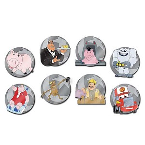 Disney Pixar Party Mystery Pin Set - They're Just Using the Same Actor - COMPLETE SET