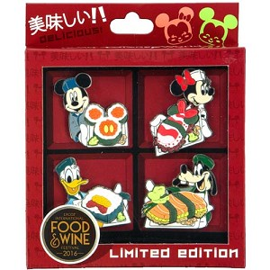 Disney Food & Wine Festival Box Pin Set - Mickey and Pals 2016