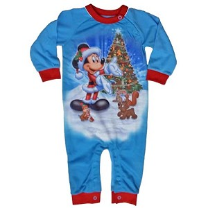 Disney Infant Toddler Holiday Pajama Onesie Festive Santa Mickey Mouse