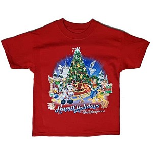 Disney Youth Shirt - Happy Holidays Festive Santa Mickey and Friends