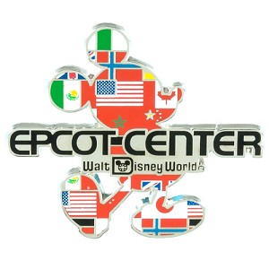 Disney Epcot Center Pin - Mickey Flags Silhouette