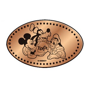 Disney Pressed Penny - Mickey holding globe with the Epcot logo on it