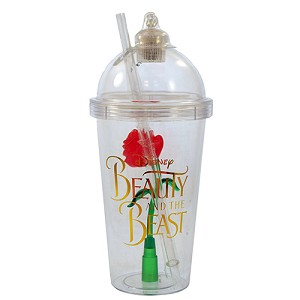 Disney Drink Tumbler Cup - Light Up Beauty and the Beast Rose - Gold