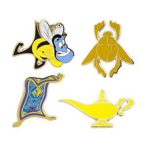 Disney 4 Pin Set - Aladdin Icons - Genie Lamp Magic Carpet Scarab