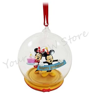 Disney Holiday Ornament - Happy Birthday Ball with Birthday Cake!
