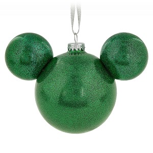 Disney Mickey Ears Ornament - Green Glitter