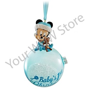 Disney Figure on a Ball Ornament - Mickey Baby's First Christmas