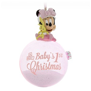 Disney Figure on a Ball Ornament - Minnie Baby's First Christmas