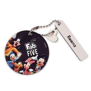 Disney Personalizable Leather Bag Tag - Mickey and Friends Round