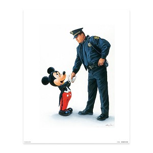 Disney Giclee Print - William Silvers - Mickey and the Policeman