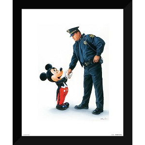 Disney Framed Giclee Print - William Silvers - Mickey and the Policeman