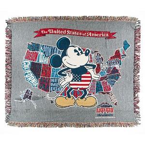 Disney Throw Blanket - Epcot World Showcase - Mickey U.S.A. Map