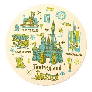 Disney Drink Coaster - Attractions Poster - Disneyland Park Icons