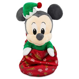 Disney Babies Plush - Baby Holiday Mickey with Blanket Pouch - 1st Christmas