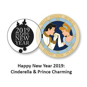 Disney New Year Pin - 2018/2019 Happy New Year Cinderella and Prince Charming