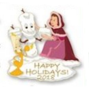 Disney Pin - Happy Holidays 2018 - Belle and Lumiere