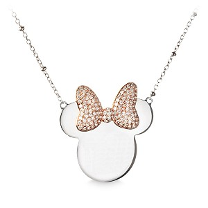 Disney Rebecca Hook Necklace - Minnie Mouse Icon Rose Gold Bow