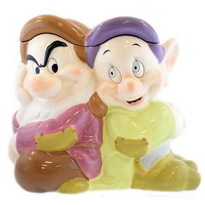 Disney Cookie Jar - Snow White - Dopey and Grumpy Dwarf