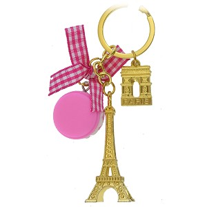 Disney Keychain Keyring - EPCOT World Showcase - France - Eiffel Tower - Dark Pink