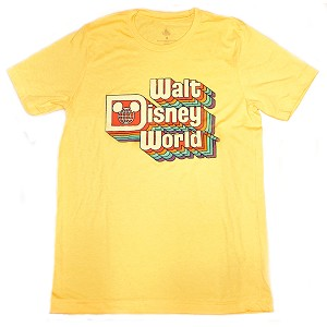 Disney Adult Shirt - Retro Walt Disney World Logo - YELLOW