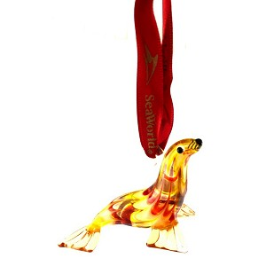 SeaWorld Ornament - Hand Blown Glass - Miniature Seal