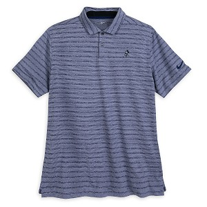 Disney Men's Shirt - Mickey Mouse Striped Performance Polo - Blue