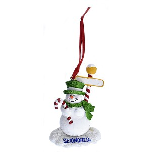 SeaWorld Ornament - Snowman with Glitter - One