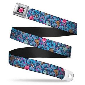 Disney Designer Seatbelt Belt - Stitch Emoji w/ Flowers & Ukulele