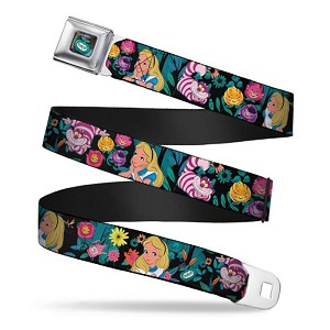 Disney Designer Seatbelt Belt - Alice & Cheshire Cat w/ Golden Afternoon Flowers