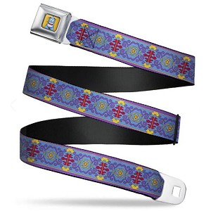 Disney Designer Seatbelt Belt - Genie Smiling With Magic Carpet Tapestry - Aladdin