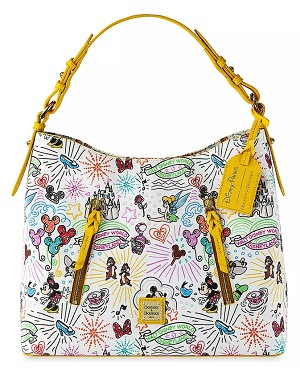 Disney Dooney & Bourke Hobo Bag - Sketch 10th Anniversary - Yellow Trim