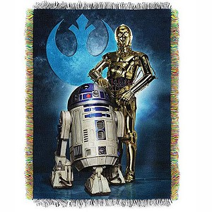 Disney Woven Tapestry Throw - Star Wars - R2D2 & C3PO