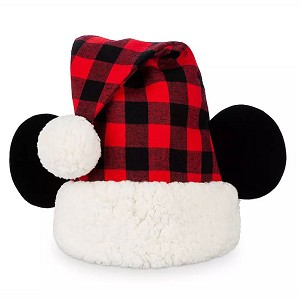 Disney Santa Hat w/ Mouse Ears - Mickey Mouse Holiday Plaid