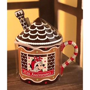 Disney Coffee Cup Mug w/ Lid & Spoon - Beach Club Resort GINGERBREAD HOUSE - 20th Anniversary