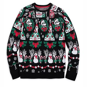 Disney Mens Light Up Sweater - Mickey Mouse Holiday - Black