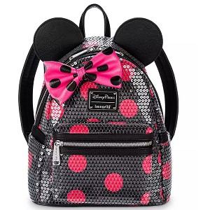 Disney Loungefly Bag - Minnie Mouse Sequined Polka Dot - Mini Backpack Wristlet